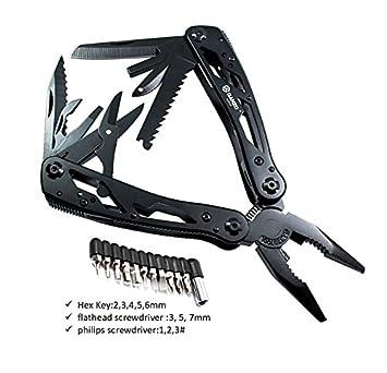 Ganzo plegable multi Tool 25 en 1 (11 Destornillador, cuchillas de hoja, Pelacables
