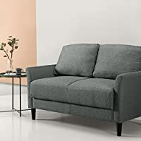 Zinus Classic Upholstered Loveseat, Grey with Hint of Green