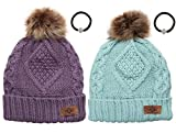 Women's Winter Fleece Lined Cable Knitted Pom Pom Beanie Hat with Hair Tie.(Lavender&Mint)
