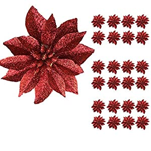 "BANBERRY DESIGNS Artificial Poinsettia Flowers – Set of 24 – 3 ¾"" Red Glittered Poinsettia Clip On Ornaments – Christmas Decorations – Decorative Floral Accessories"