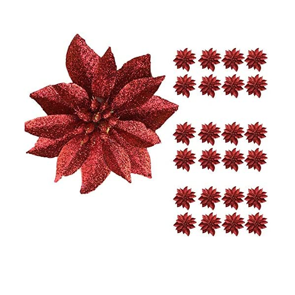 "BANBERRY DESIGNS Artificial Poinsettia Flowers - Set of 24 - 3 ¾"" Red Glittered Poinsettia Clip On Ornaments - Christmas Decorations - Decorative Floral Accessories"