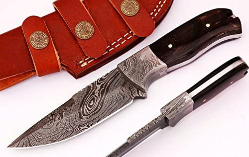 SharpWorld Buffalo Horn Damascus Knife Made of Remarkable Damascus Steel -Best Hunting Knife with Sheath TJ105