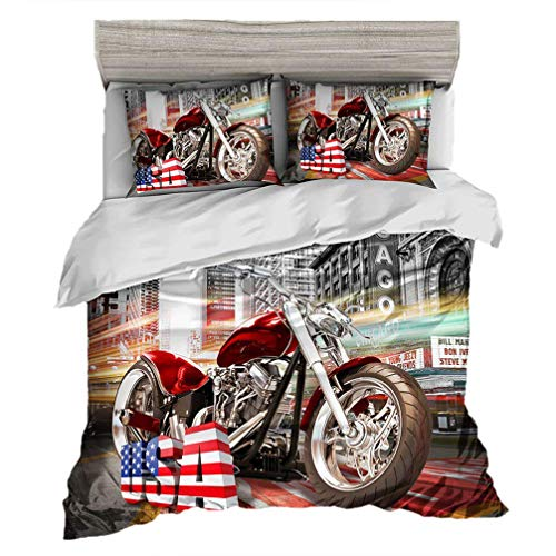 (Sookie Duvet Cover with 3D Motorcycle Racing Printed Pattern,Bedding Set King for Boys and Men (4 Pieces,-1 Quilt Cover+2 Pillowcase+1 Flat Sheet, King))