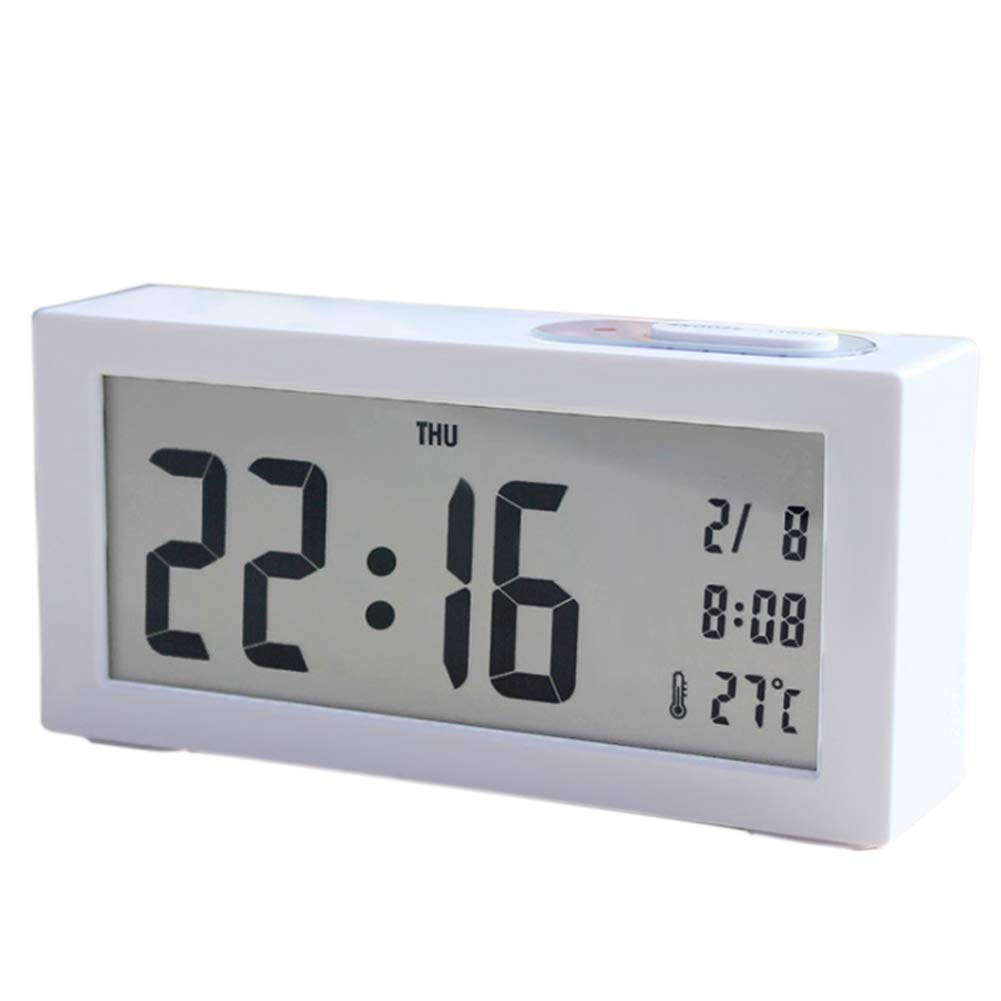 StarALL Digital Alarm Clock LED Large-Display Backlight Light Sensor Alarm Clock Electronic Alarm Clock(White)