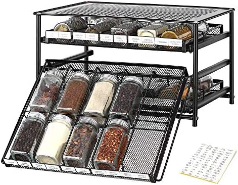 Spice Rack Organizer Drawer for Kitchen Storage Stackable Standing Pull Out 3 Tier Spice Jar Container Shelf Holder with 30 Grid 270 Labels for Countertop Household Pantry