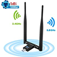 DEEPOW Dongle WiFi Clé WiFi Adaptateur USB 3.0 WiFi 1200Mbps, Adaptateur USB WiFi 5dBi avec 2 Antenne Double Bande (2.4G/300Mbps+5G/867Mbps) 802.11n/g/b/a/AC avec WPS Secure Tech pour Windows Mac