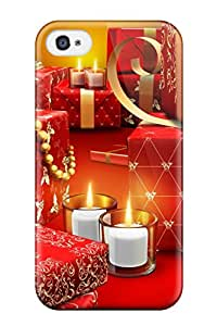 Shock-dirt Proof Red Fancy Presents Vector Design Bedecked Xmas Santa Claus Holiday Christmas Case Cover For Iphone 4/4s