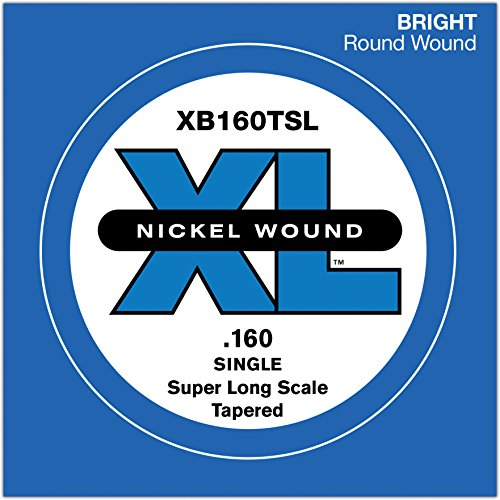 D'Addario XB160TSL Nickel Wound Bass Guitar Single String, Super Long Scale.160, Tapered