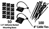 1.5'' Adhesive Backed Mounting Bases with 8'' Cable Ties - Black