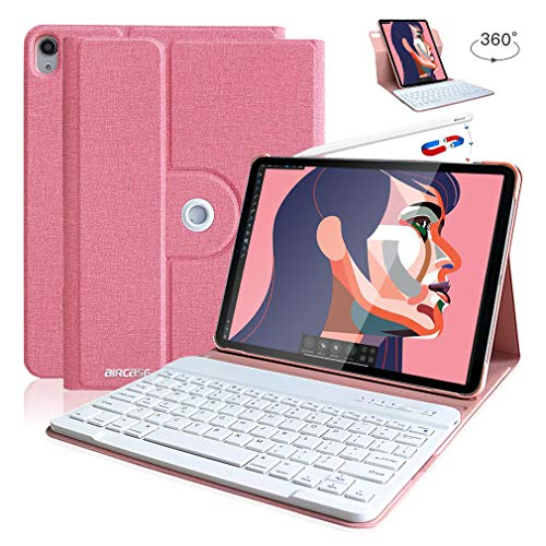 Wireless Detachable Keyboard iPad Pro Keyboard Case 11 2018 Support Apple Pencil Charging - Ultra Slim PU Leather Folio Stand Cover with Pencil Holder with 360 Degree Rotate