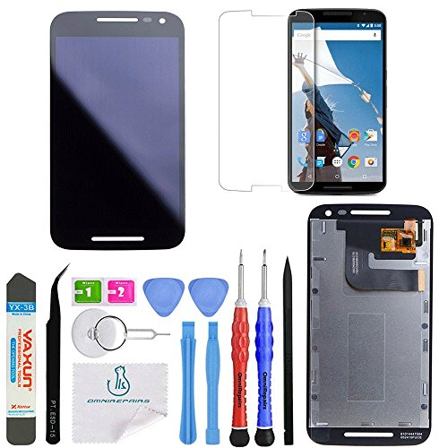 lay with Glass Touch Screen Digitizer Assembly Replacement for Motorola Moto G3 (3rd Generation) Model XT1540, XT1543, XT1548 with Screen Protector and Repair Toolkit (Black) ()