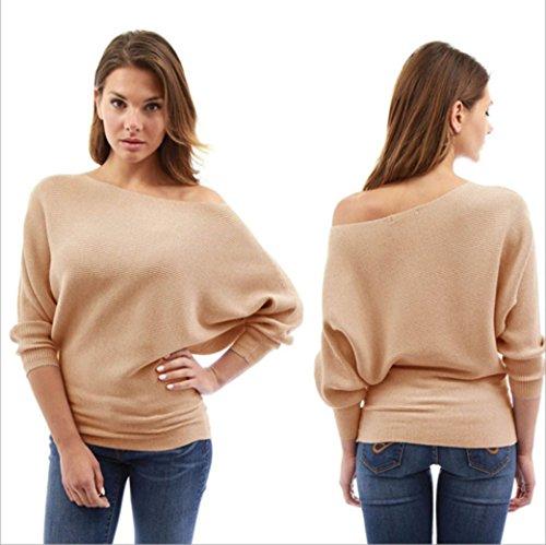 Blouse Manche Longue BriskyM Hiver Tunique Chemise Casual Kaki Sweater Pull Hauts Femmes Pull over Shirt Nue Chemisier Epaule q8qnzg