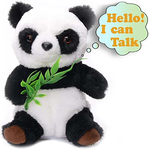 Talking Panda Cute Fluffy Mimicry Toy Repeats What You Say Electronic Pet for Kids/Toddlers/Teens Interactive Toy Educational Gift for Birthday Party/Christmas Plush Animated Animal Talking Hamster - Animated Birthday Party