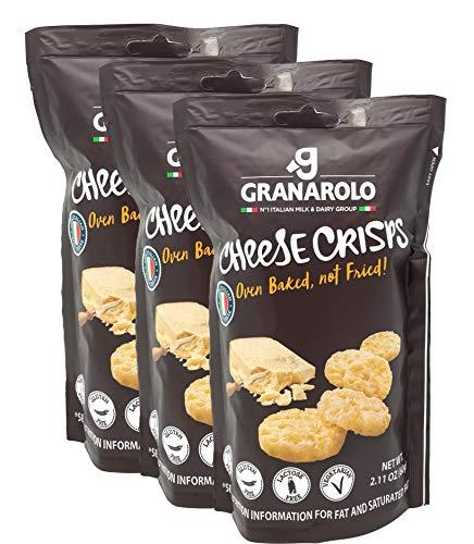 Granarolo Italian Cheese Crisps Original, 3 Packs - 2.11 Ounce each - Oven Baked, Gluten free, Vegetarian, Lactose Free