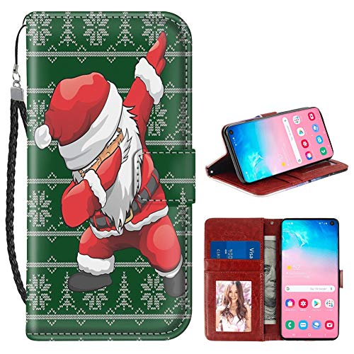 (Uniquely Designed Santa Claus Posing Samsung Galaxy S10 Wallet Case Shockproof Flip Folio Synthetic Leather Magnetic Wallet Case Only for Galaxy S10 with ID and Credit Card Pockets Hand Strap )
