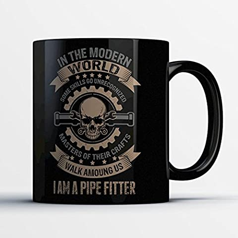 Pipe Fitter Coffee Mug - Masters of Their Crafts Pipe Fitter - Funny 11 oz Black Ceramic Tea Cup - Cute and Humorous Pipe Fitter Gifts with Pipe Fitting - Fitting Black Poly Bulkhead
