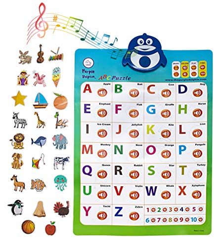 2-in-1 Interactive Alphabet Poster for Kids | Classroom ABC Posters | Wall Chart Decal | Educational Toddler Toys | Children Learning Puzzle | Electronic Preschool Games | 2-3 Year Old and up