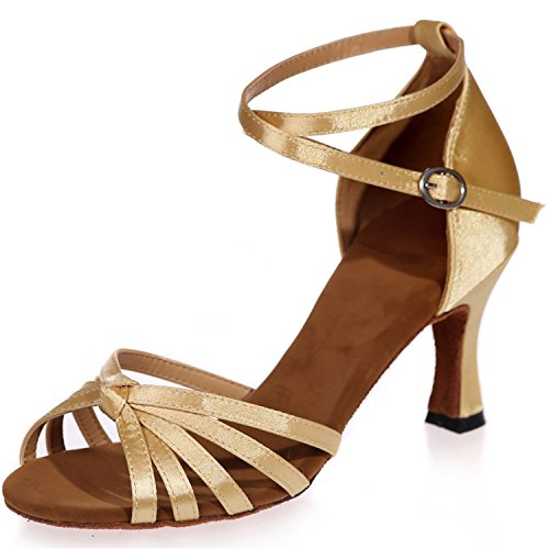 Clearbridal Women's Satin Latin Dance Shoes Buckle Ankle Strap Salsa Ballroom Sandals High Heel ZXF8349-08A Gold