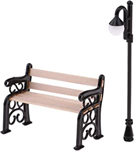 Panin 1.29 Inch Miniature Park Bench and 2.8 Inch Miniature Street Lamp, Mini Bench Fairy Garden Chairs Set for DIY Crafts, Dollhouse Ornament