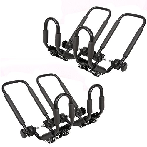 Cheap 2 Pairs Folding Kayak Carrier Boat Canoe Rack Snowboard J-Bar Roof Top Mounted
