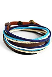 MORE FUN Charm Mens Womens Genuine Leather Bangle Colorful Rope Snap Button Multilayer Wrap Bracelet