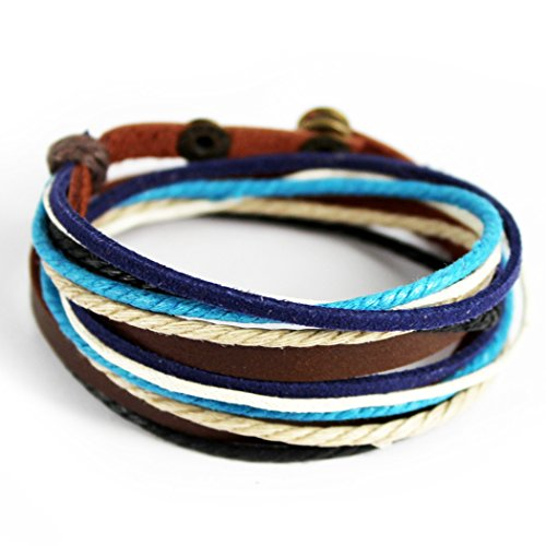 MORE FUN Charm Mens Womens Genuine Leather Bangle Colorful Rope Snap Button Multilayer Wrap Bracelet (Blue)