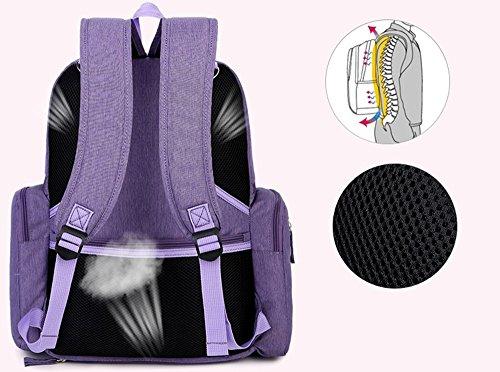maman bébé de sac sac hors de les colis grande multifonctionnel du imperméable l'eau Violet à Gris capacité dos à pour épaules Sac Couleur wXIAY0Pq