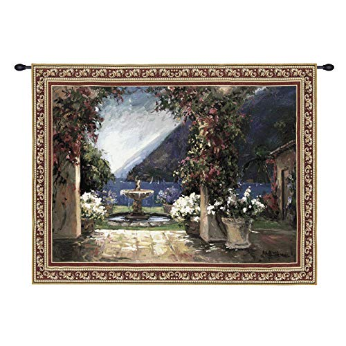 Seaside Fountain by Allayn Stevens | Woven Tapestry Wall Art Hanging | Lush Coastal View Through Archway and Fountain | 100% Cotton USA Size 80x53