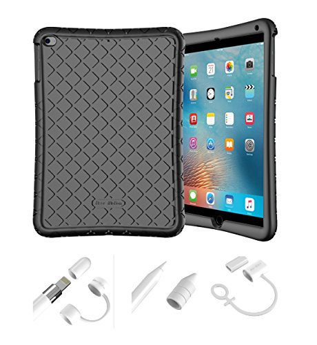 Bear Motion Silicon Case for iPad 9.7 2018 2017 / iPad Air 2 / iPad Air and Apple Pencil Cap Holder Cover Shockproof Silicone Protective Cover (Black Silicon Case + White Apple Pen Holder)