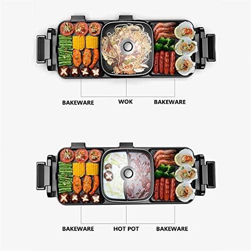 MOSHANG Grill électrique, Plaque chauffante coréenne Pot Anti-adhésive sans fumée Multi-Fonction électrique, Chauffage électrique Pot Pot, 30