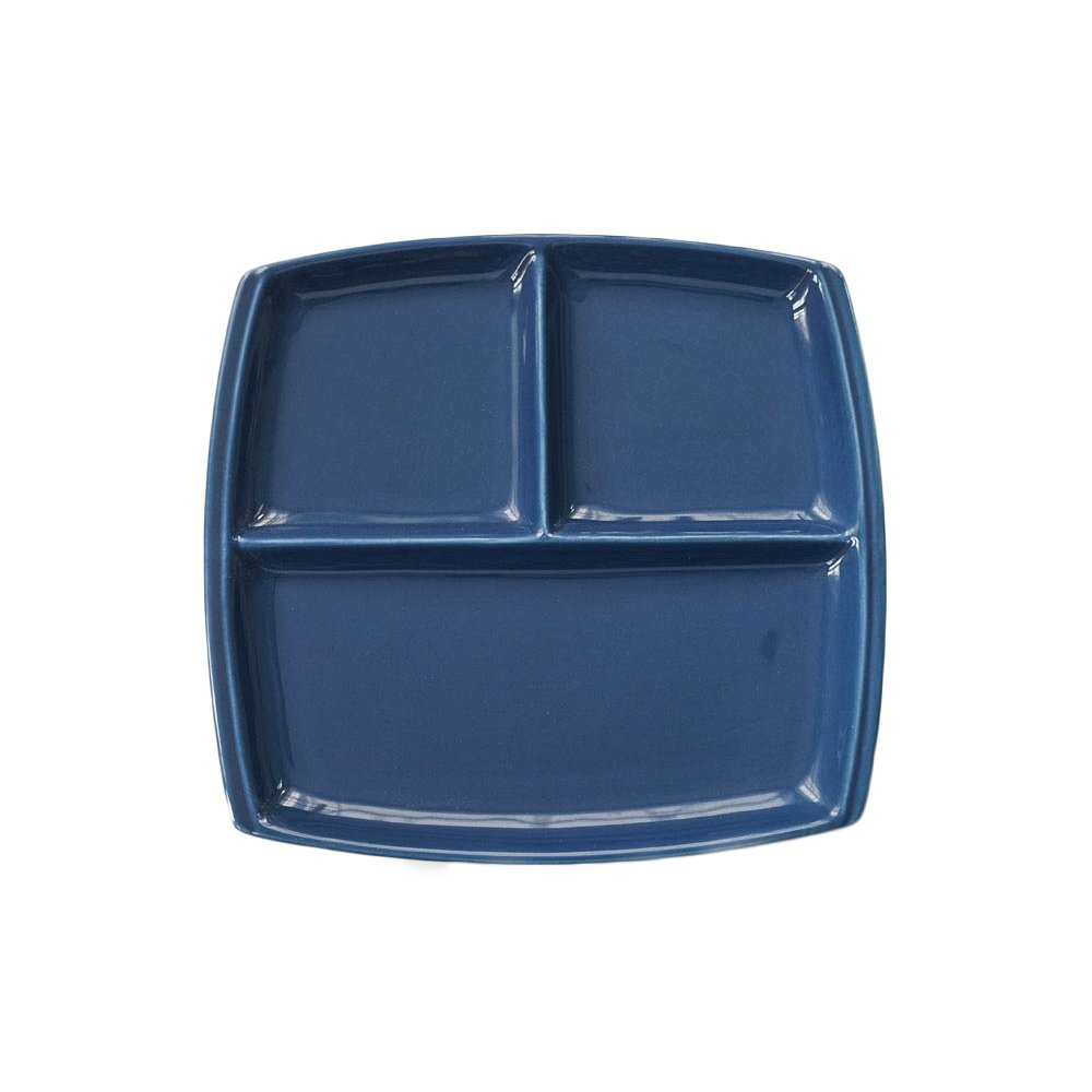 FLYING BALLOON Elegant Quadrate Shaped Ceramic Divided Plate Dinner Plates Luncheon Plates Salad Plates Dishes Best Gift for Kitchen, White/ Dark Blue
