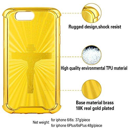 Coque pour iPhone 6 Plus/6S Plus, Bandmax Croix INRI Crucifix Motif Jésus Christ TPU Résistant Protection Bumper Case Cover pour Apple iPhone 6 Plus/iPhone 6S Plus (Doré, pour iPhone 6 Plus/6S Plus)