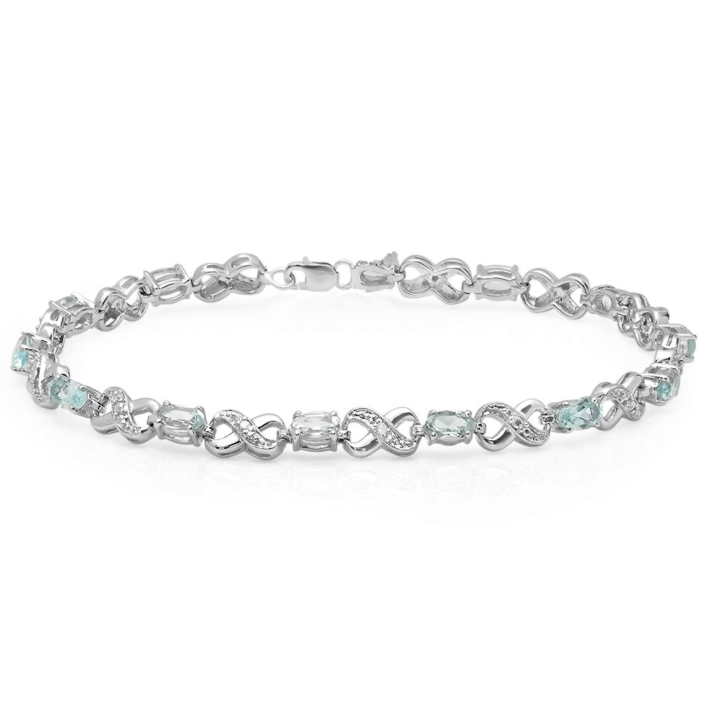 Sterling Silver Real Oval Cut Blue Topaz & Round Cut White Diamond Ladies Infinity Link Tennis Bracelet