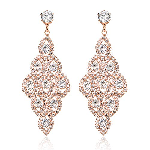 IDesign Wedding Bridal Earrings Large Long Earrings Cubic Zirconia CZ Glamorous Style Dangle Chandeliers Earrings Rhinestone Dangle Earrings for Wedding Prom Anniversary (Rose Gold)