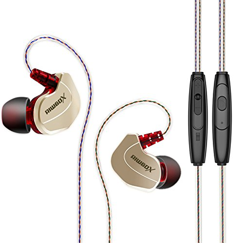 Riwbox X7 Comfort-Fit In-Ear Headphones Noise-Isolating Sweatproof Resistant sport Earbuds with In-line Microphone, Universal Volume Control and Secure Earhooks(Gold)