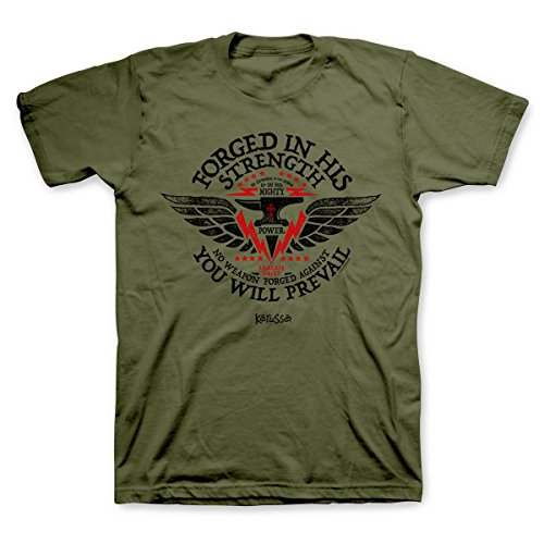 - Forged In His Strength Christian T-Shirt, Military Green, L