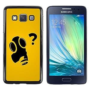 Be Good Phone Accessory // Dura Cáscara cubierta Protectora Caso Carcasa Funda de Protección para Samsung Galaxy A3 SM-A300 // Funny Art Gas Mask Question Why