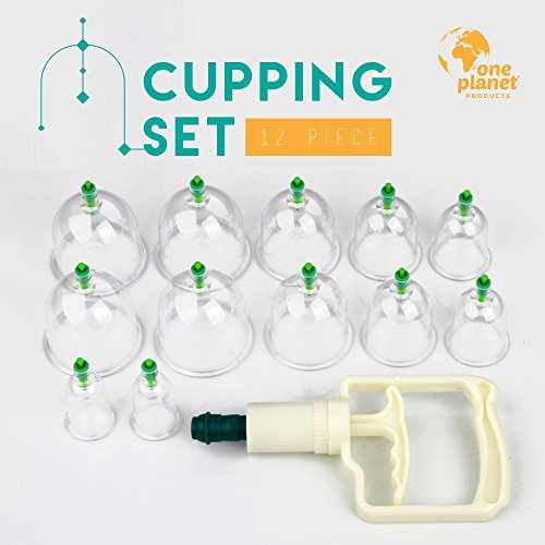 Cupping Therapy Set By One Planet, 12-Pieces, Biomagnetic Chinese Body Therapy, Pain Relief,...