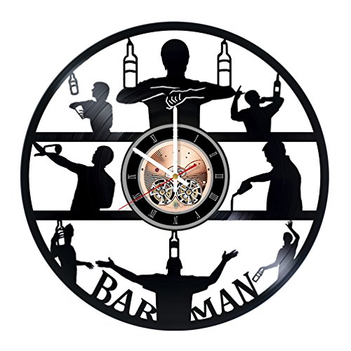 Bartender Vinyl Record Wall Clock - Get unique Home room or Living Room wall decor - Gift ideas for boys and girls, friends - Bar Unique Art (Bar Ideas For Living Room)