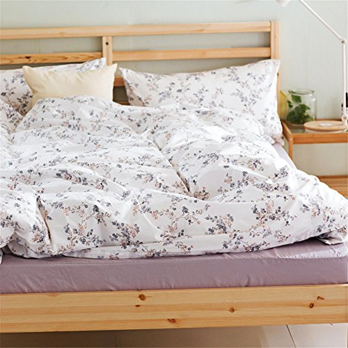 no!no! Pastoral Style Cotton 4pcs Bedding Sets for Girls Women Purple Squid Floral White King Size-1 Duvet Cover 2 Pillowcases and 1 Solid Flat Sheet (Squid Girl 1 1)