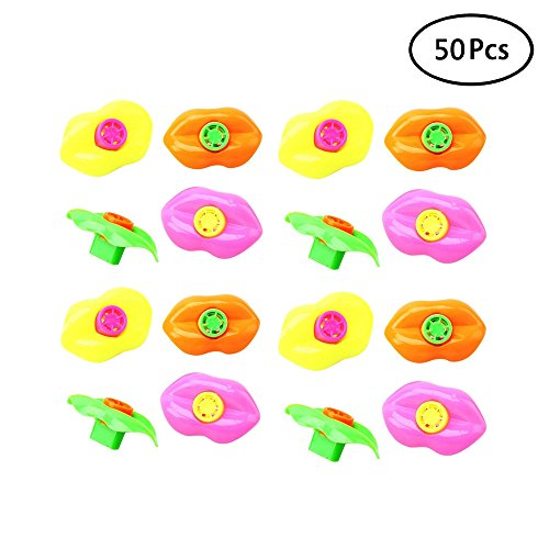 Finduat 50 PCS Lip Whistle for Kids Party Favors Plastic Noisemakers (Assorted Colors, 2.5 In)