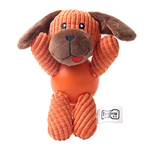 Dog Chew Toys Soft Corduroy Toys with Rubber Ball Body for T