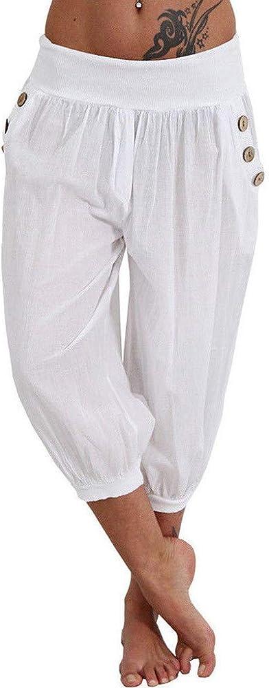 la meilleure attitude 845cd f0867 Pantalons Femme Été Jogging Yoga Pantalons Occasionnels Sarouel Chic  Nouveau Mode Taille Haute Élastique Pantacourt Ample