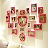 Solid wood living room photo wall / love heart-shaped modern children's bedroom photo wall / photo frame wall combination 20 box 133 100cm