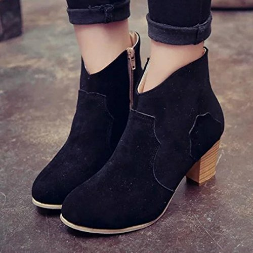 Women Boots - Honestyi - Women Women Short Cylinder Boots High Heels Boots Shoes Martin Boots Ankle Boots-Artificial leather+plastic Black 5eEZGHs