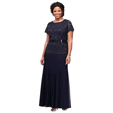 Short Sleeve Lace And Chiffon Plus Size Mother Of Bridegroom Dress