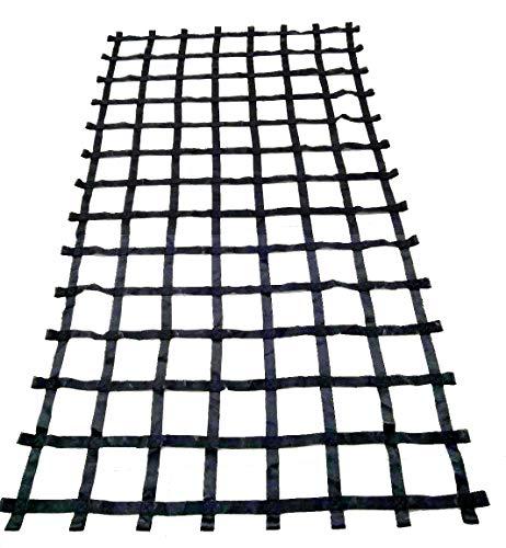 FONG 11' X 6' Climbing Cargo Net Black - Swing Set Accessories - Indoor Climbing net - Outdoor Playground Swing, Belt Swing, Playground Hanging Step Ladder