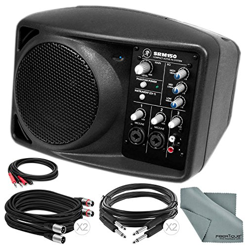 Mackie SRM150 5.25-Inch Compact Active PA System (Black) and Basic Accessory Bundle with 5X Cables + Fibertique Cloth ()