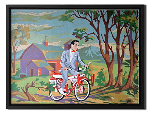 Forest Signed - David Irvine Signed Authentic Official Pop Peewee Herman Forest Trail Framed Canvas Wall Art at 50in by 38in FLCNVDRV002