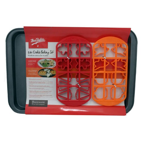 Mrs. Fields 3 Piece Holiday Cookie Cutter and Baking Sheet -